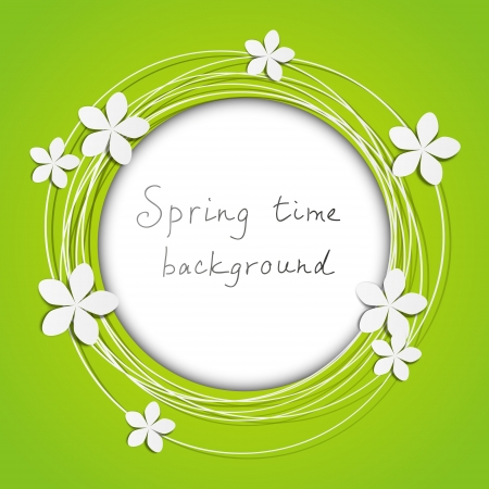 flowers background: Floral round frame with place for text