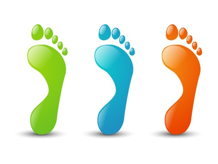 pedicure set: Set of glossy foot icons Stock Photo