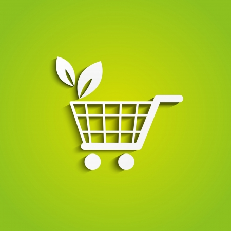 e cart: Shopping cart icon - organic concept