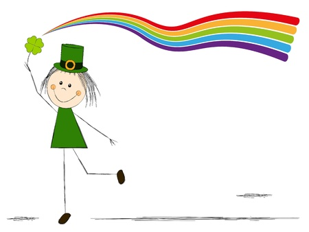 Leprechaun girl with magic rainbow photo