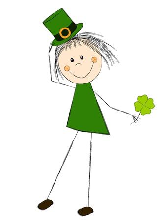 Leprechaun girl with clover leaf Stock Photo - 17955320