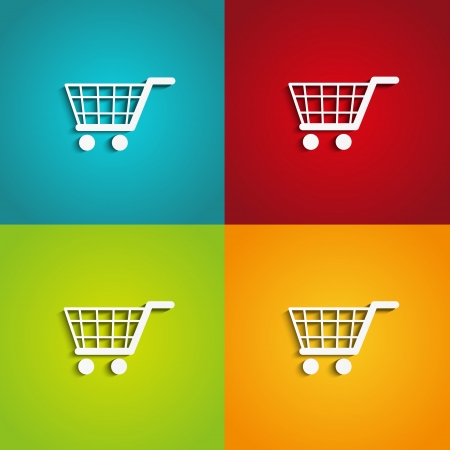 e retailers: Set of shopping carts on color backgrounds