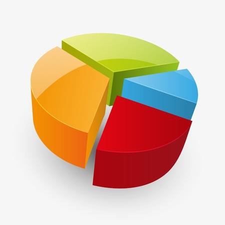 grafica de pastel: Ilustración vectorial de diagramm brillante redondo