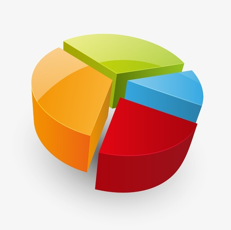 pie chart: Vector illustration of round glossy diagramm