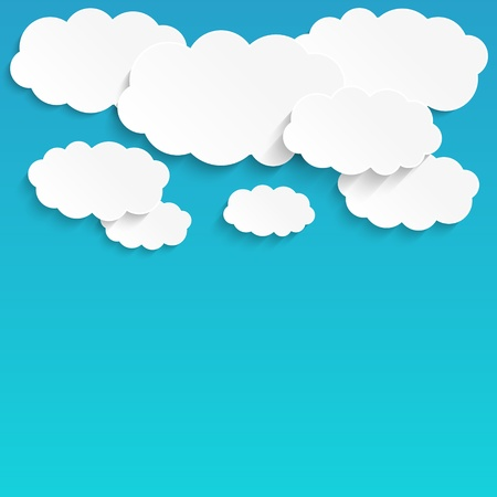 sky and clouds: Paper clouds background with place for text