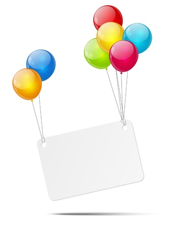 Banner with color glossy balloons  photo