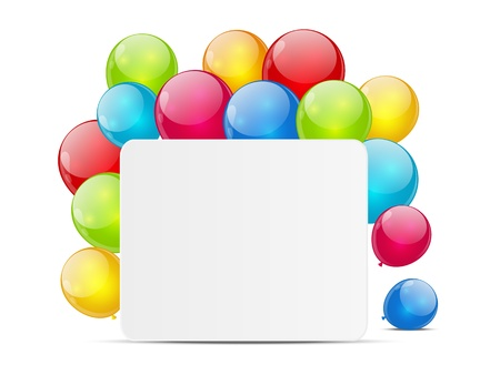 White banner with ballons background Stock Photo - 18268995