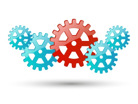 Color glossy gears on white