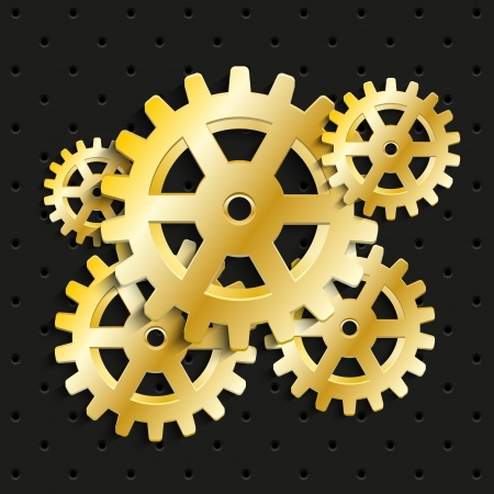 Golden gears on black background photo
