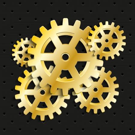 Golden gears on black background photo