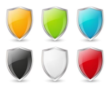 shiny shield: Set of color shield icons