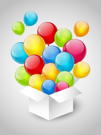 Gift box with color balloons Stock Photo - 18406938