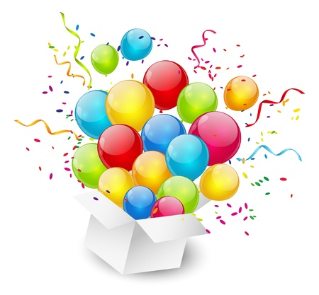 Gift box with color balloons photo