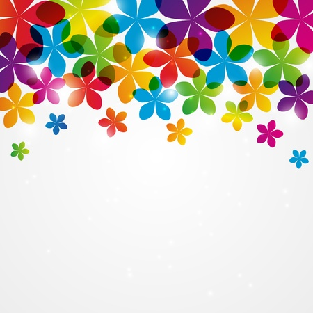 Rainbow floral background with place for text photo