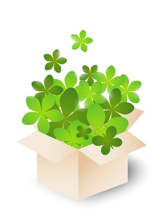 Box with green spring flowers Vector