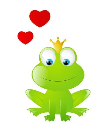 princess frog: Frog prince aislado en blanco Vectores
