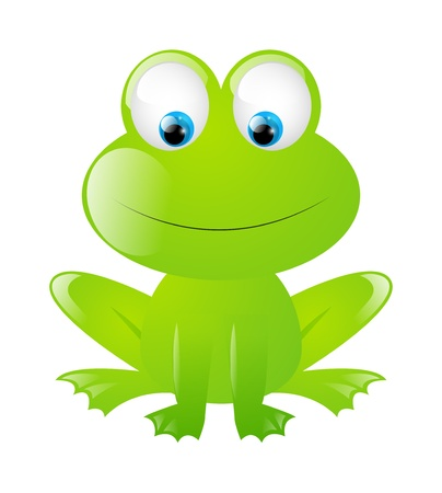 cartoon frog: Funny frog isolated on white