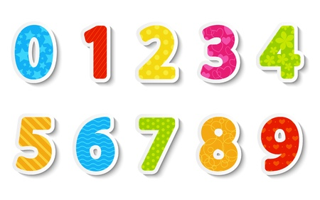 Set of color paper numbers Vector