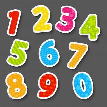numbers abstract: Set of color paper numbers Illustration