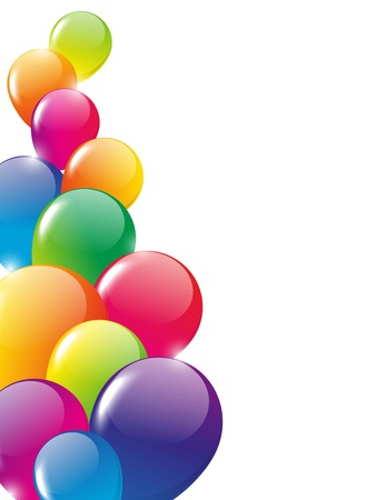 birthday party background: Color background with glossy balloon Stock Photo