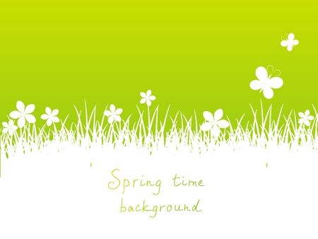 place for text: Green spring background with place for text Stock Photo