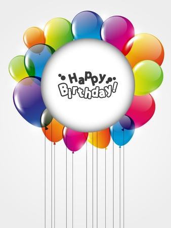 happy birthday cartoon: Happy Birthday card with balloons Stock Photo