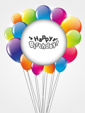 globos de cumpleaños: Tarjeta del feliz cumpleaños con globos