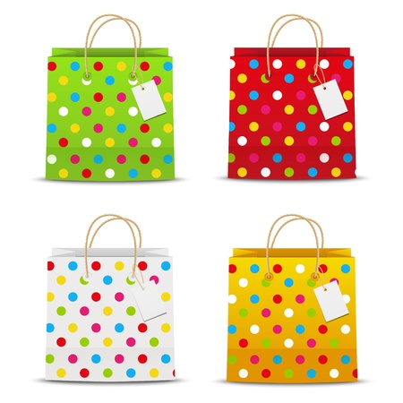 Set of color shopping bags with dots pattern Stock Photo - 18757629