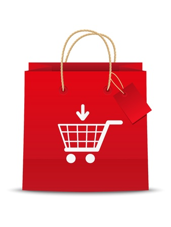red retail: Add to cart shoping icon Stock Photo