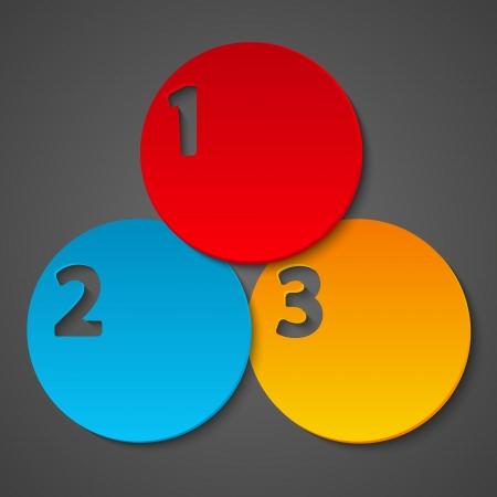 Tres pasos diagrama de flujo con el lugar de texto