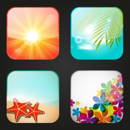 Set of summer apps icons photo