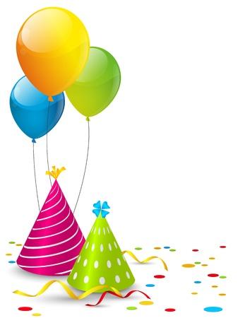 verjaardag ballonen: Verjaardagskaart met plaats voor tekst Stock Illustratie