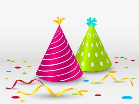 Verjaardagskaart met feestmutsen Vector Illustratie