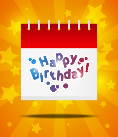 today: Calendar with Happy Birthday message Illustration