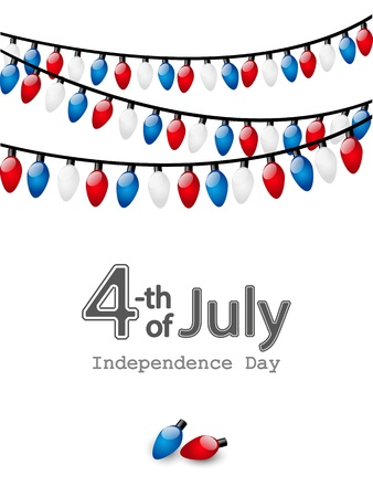 Independence day card with color light bulbs Vector