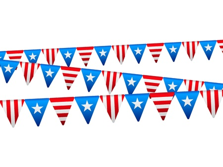 national holiday: Independence day flags on white Illustration