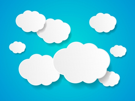 white clouds: White paper clouds background with place for text