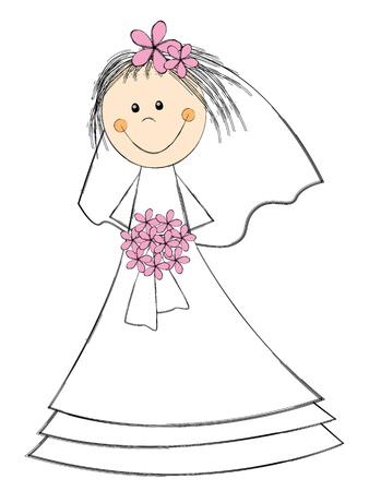 bride cartoon: Cute bride with pink flowers Illustration
