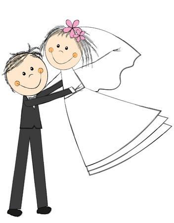 girls holding hands: Happy wedding couple on white