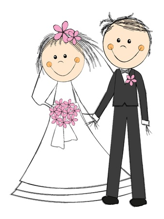 cartoon wedding couple: Happy wedding couple on white