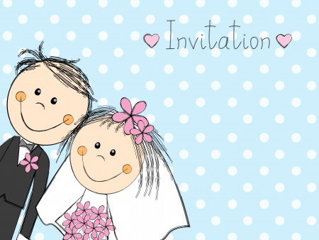 woman holding card: Wedding invitation with happy couple Illustration