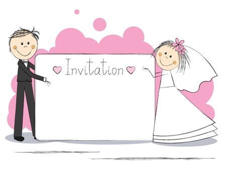 hand holding card: Uitnodiging van het huwelijk met mooi paar Stock Illustratie
