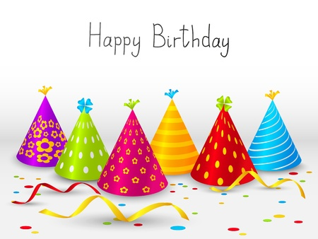 happy birthday cartoon: Birthday hats background with place for text
