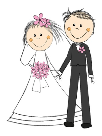 Happy wedding couple on white Vector