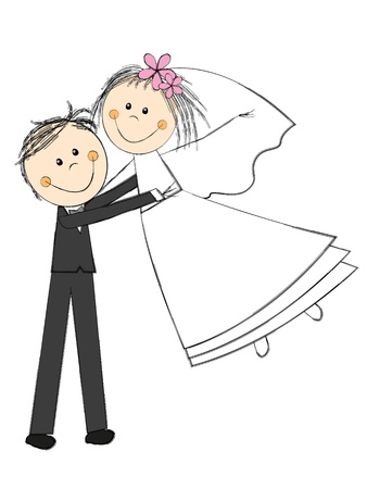 marriage cartoon: Happy wedding couple on white