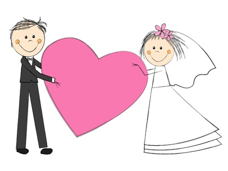 hand holding flower: Happy wedding couple on white with heart Illustration