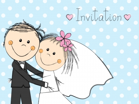 cartoon wedding couple: Wedding invitation with happy couple Illustration