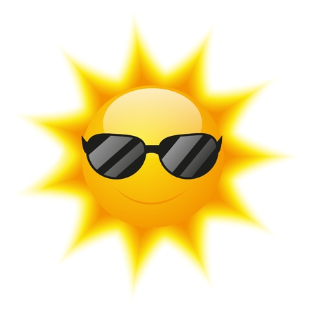 sunglasses cartoon: Cute Sun character with sunglasses Illustration