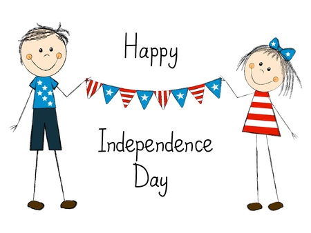 Independence day card with happy children Stock Vector - 19930146