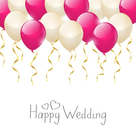 Wedding balloons with golden ribbons Vector